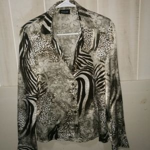 Tops - BASLER Silk Blouse Shirt Top size 6-8